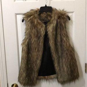 Brown faux fur vest size S